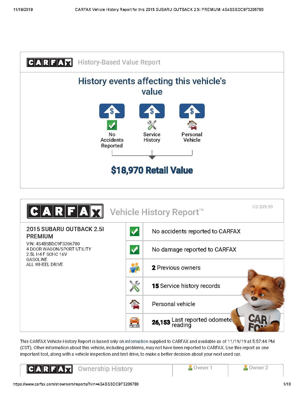 Subaru Outback CARFAX Vehicle History Report.pdf | PDF Host