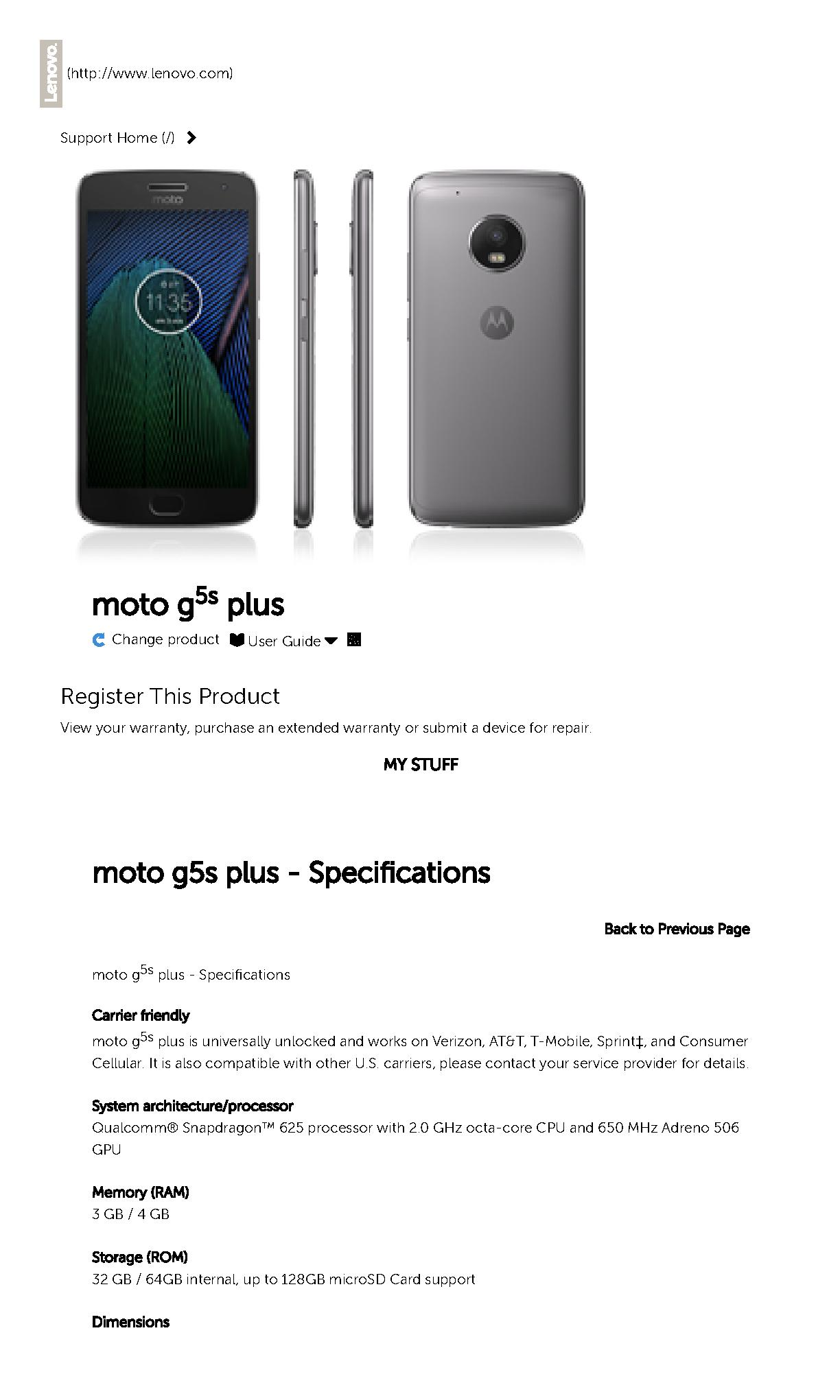 moto g5s plus - Specifications - Motorola Support - US.pdf | PDF Host